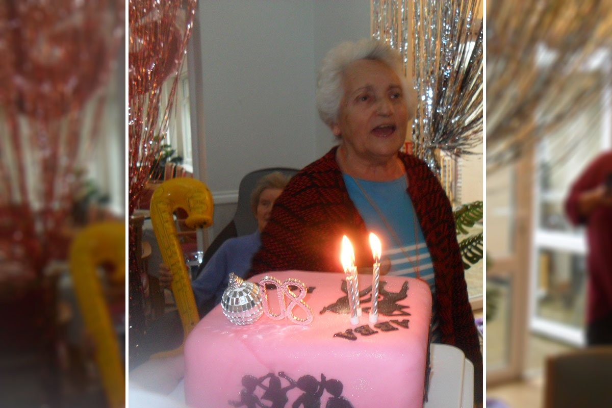 Rosa at Woodstock Residential Care Home celebrates her eightieth birthday