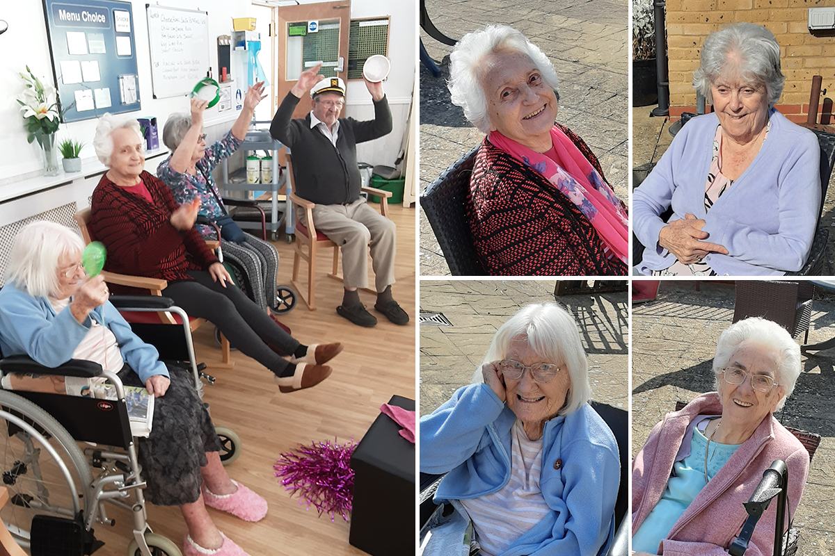 Armchair exercises and enjoying the garden at Woodstock Residential Care Home