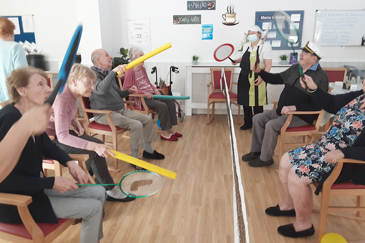Balloon tennis at Woodstock Residential Care Home