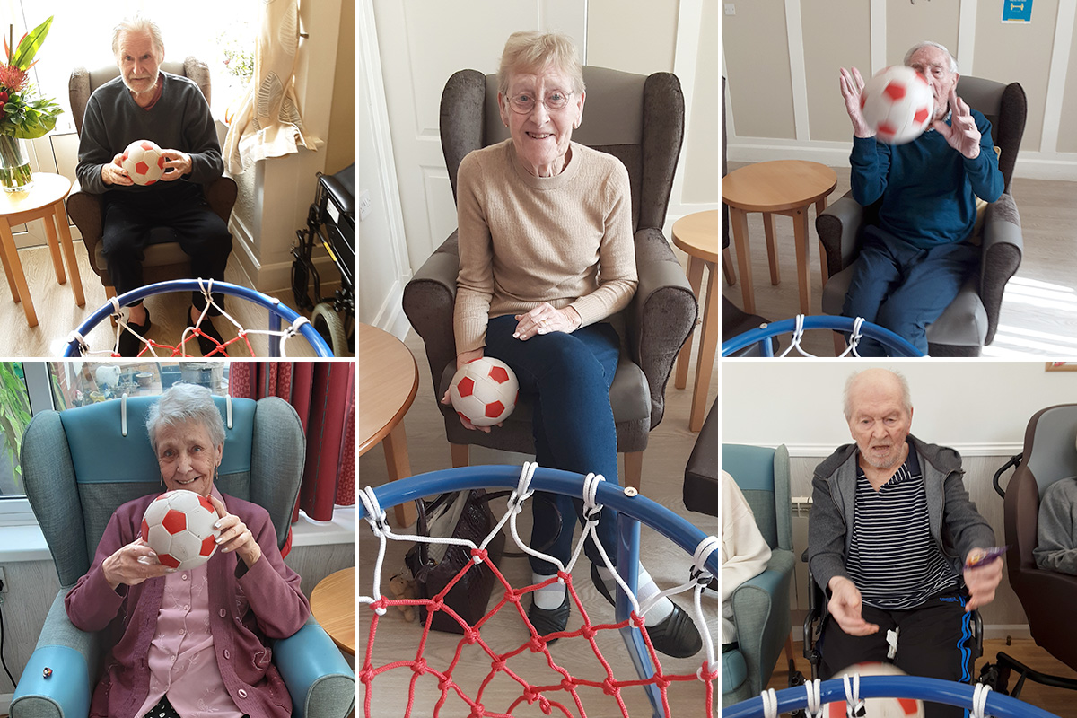 Woodstock Residential Care Home residents enjoy shooting hoops