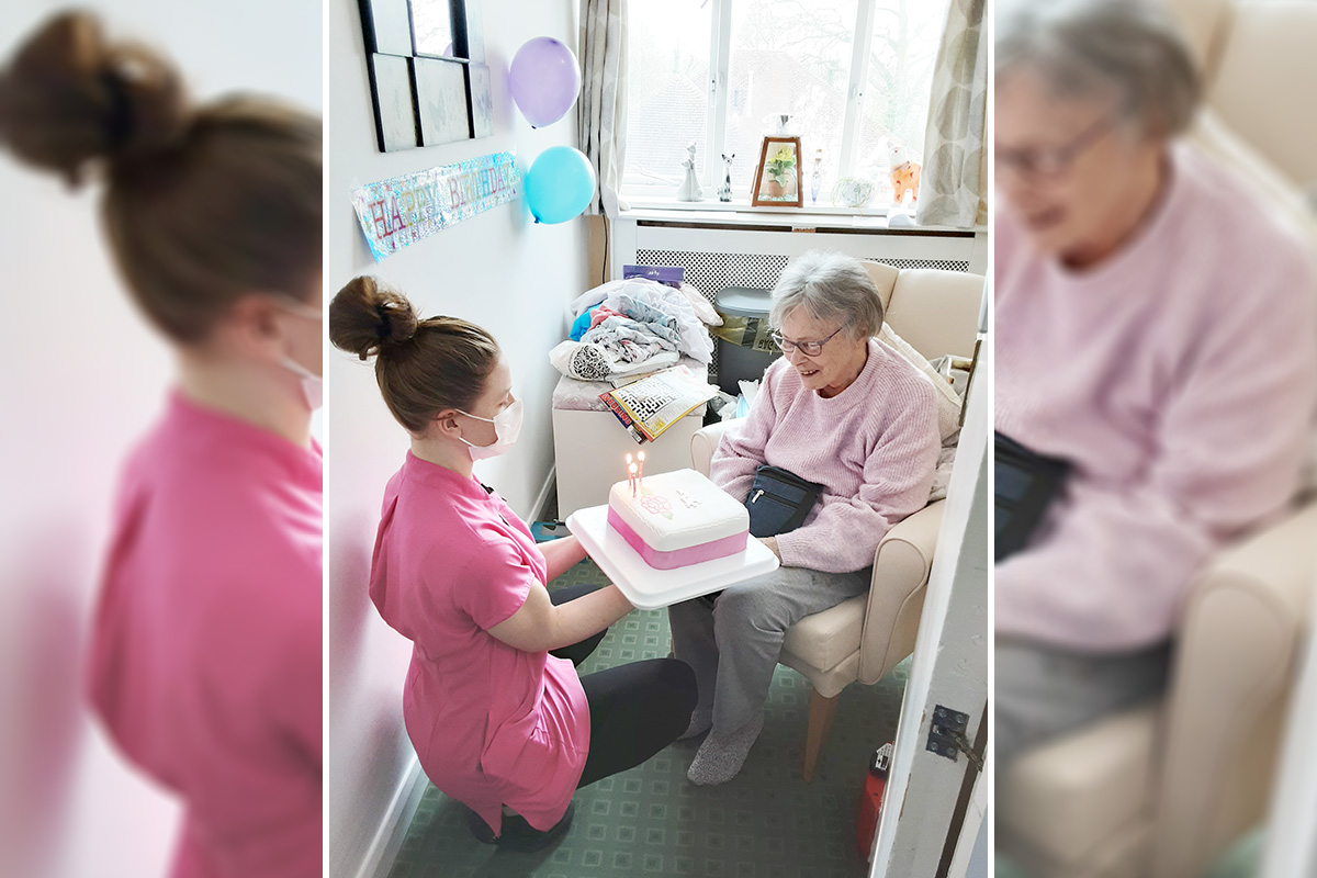 Birthday celebrations for Carol at Woodstock Residential Care Home