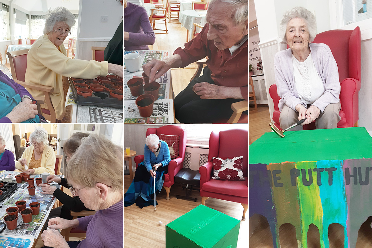 Planting seeds and mini golf at Woodstock Residential Care Home