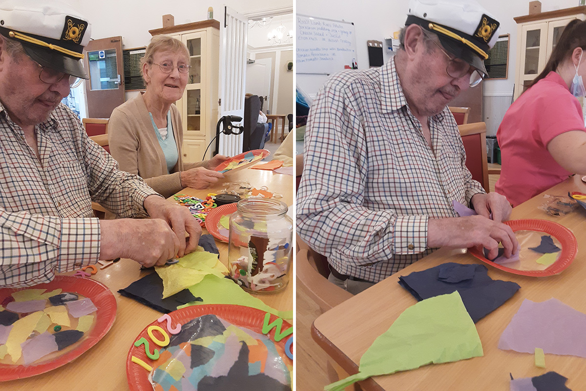 Woodstock Residential Care Home residents create colourful suncatchers