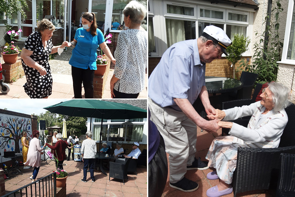 Singing in the sunshine at Woodstock Residential Care Home