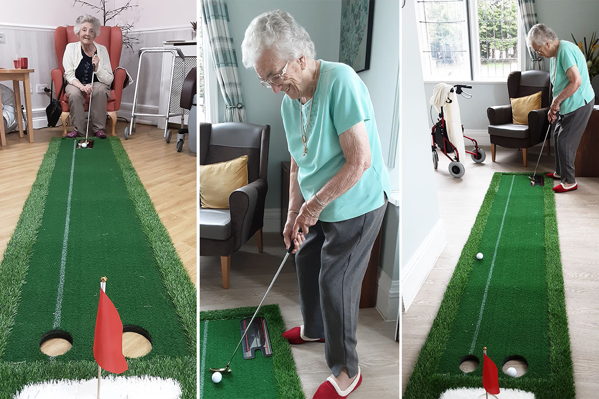 Competitive crazy golf at Woodstock Residential Care Home