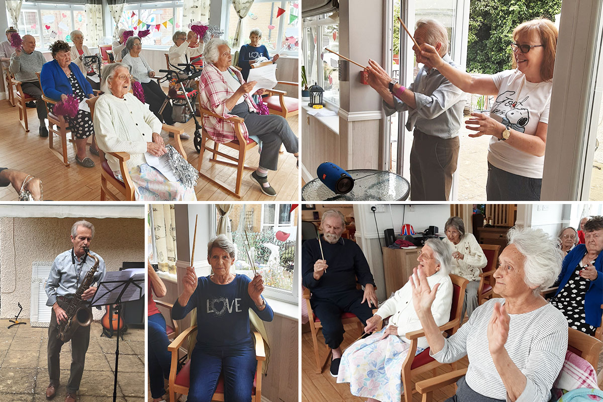 Woodstock Residential Care Home residents enjoy exercise and music with Mo and John