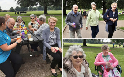 Woodstock Residential Care Home residents enjoying a walk and picnic in the park