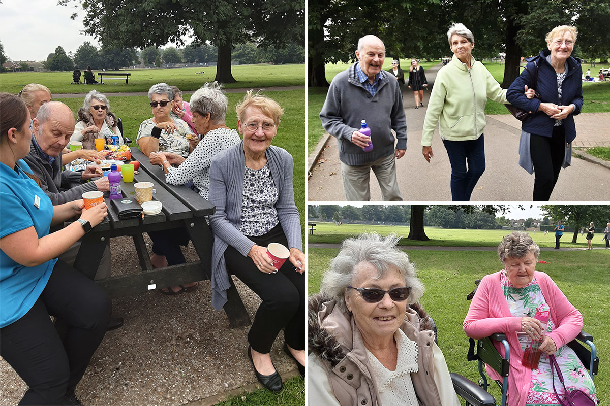 Woodstock Residential Care Home residents enjoy a picnic in the park