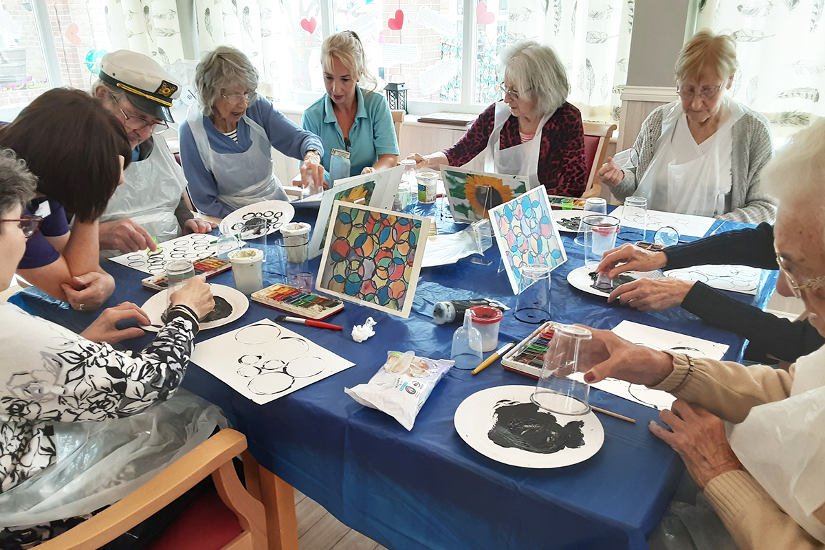 Woodstock Residential Care Home residents create abstract art together